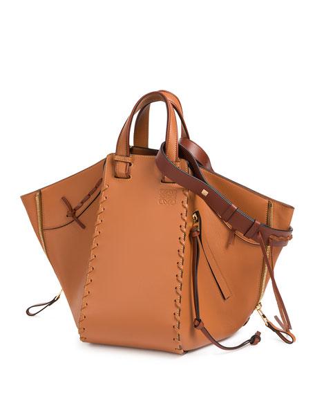 Solid Large Leather Hammock Bag