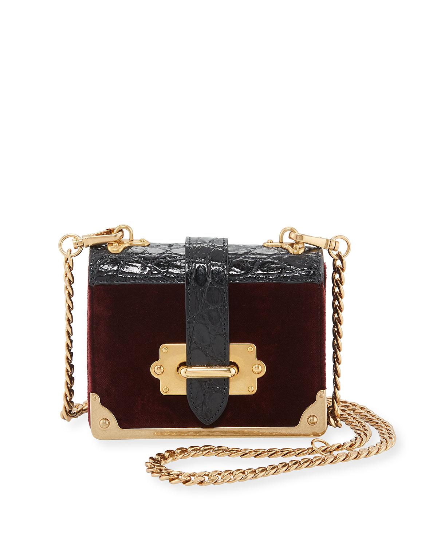ca04261694a51 Prada Cahier Micro Velvet Crossbody Bag