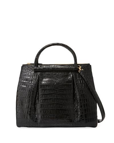 Large Crocodile Plisse Tote Bag