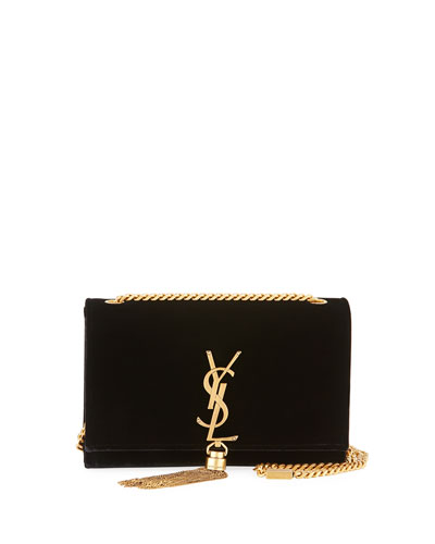 Kate Small Monogram Velvet Tassel Bag, Black