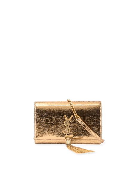 Saint Laurent Kate Crinkled Metallic Tassel Chain Wallet,