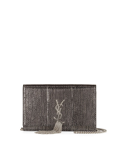 Saint Laurent Kate Monogram Snakeskin Tassel Wallet on