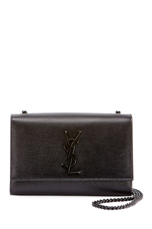 Saint Laurent Kate Small Grain de Poudre Chain Shoulder Bag, Black Hardware