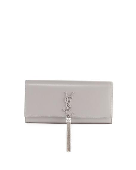 Saint Laurent Monogram Kate Smooth Leather Tassel Clutch