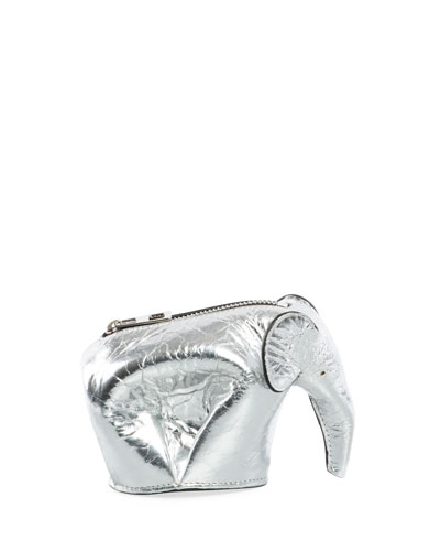 Metallic Leather Elephant Coin Purse, Gray