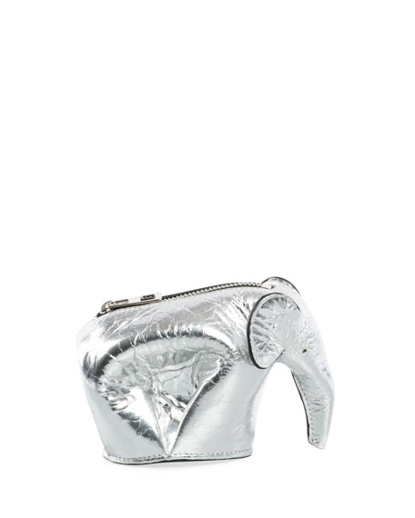 Loewe Metallic Leather Elephant Coin Purse, Gray