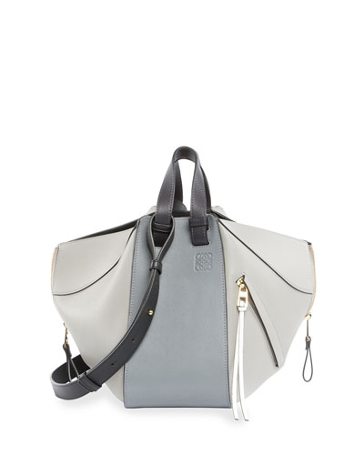 Hammock Small Calf Leather Tote Bag, Gray