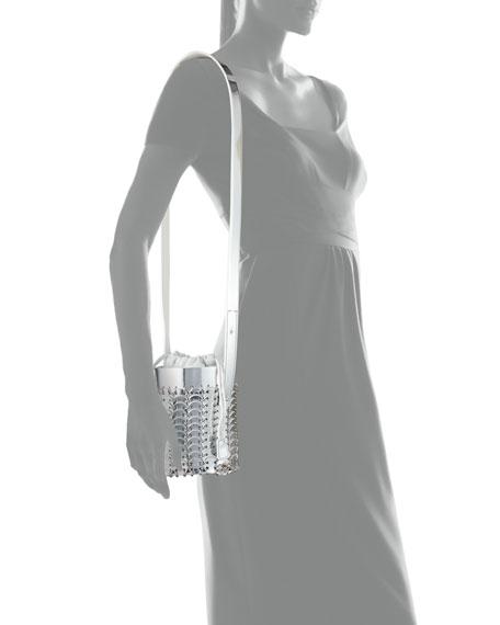 14#01 Chain-Link Mini Mirrored Leather Bucket Bag
