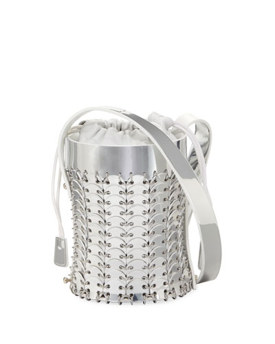 1401 Chain-Link Mini Mirrored Leather Bucket Bag