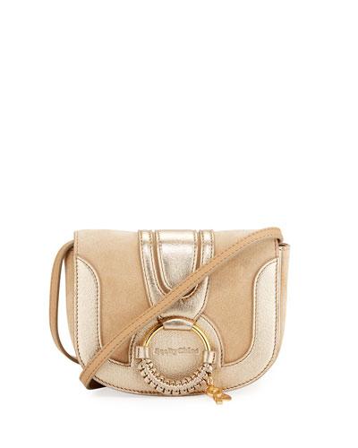 Hana Mini Leather Shoulder Bag, Beige
