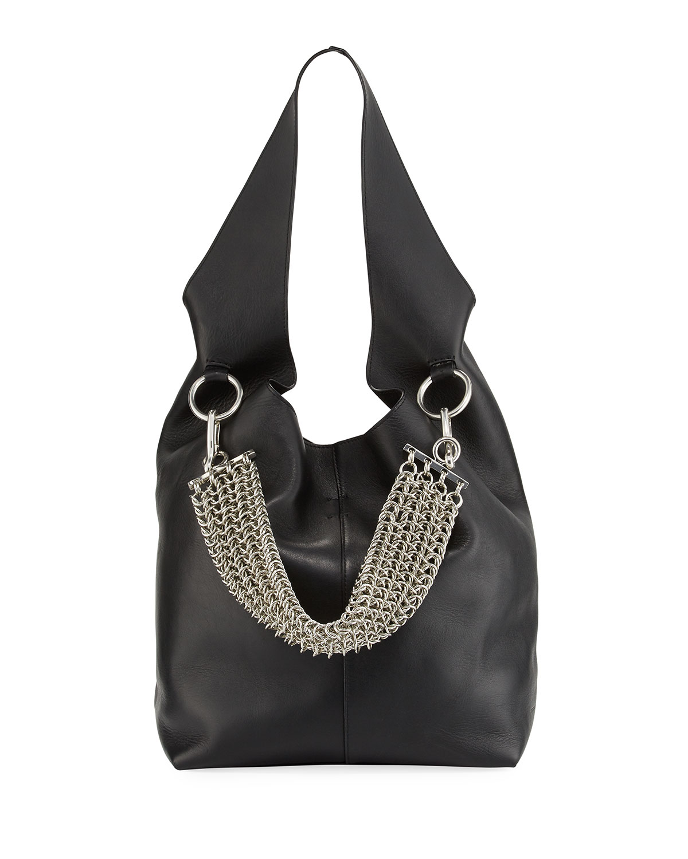 Alexander Wang Genesis Box Chain Hobo Bag, Black   Neiman Marcus 0eb4e87641