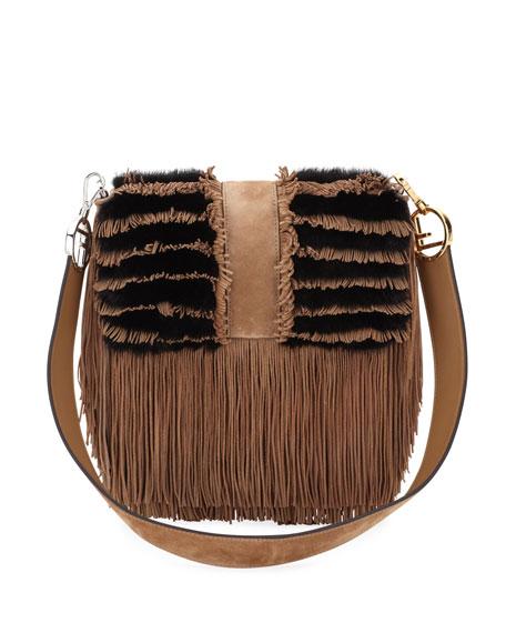 Two-Tone Suede/Fur Fringe Shoulder Bag