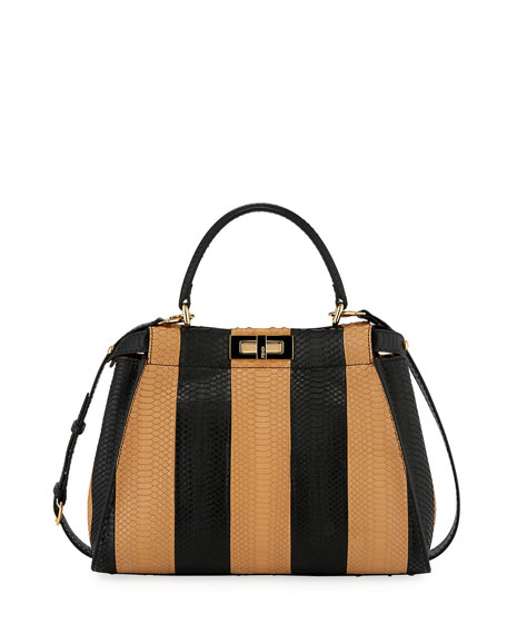 Fendi Peekaboo Sunshine Medium Snakeskin Satchel Bag