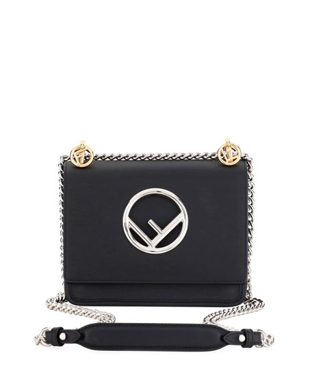 Fendi Kan I Small Leather Shoulder Bag, Black