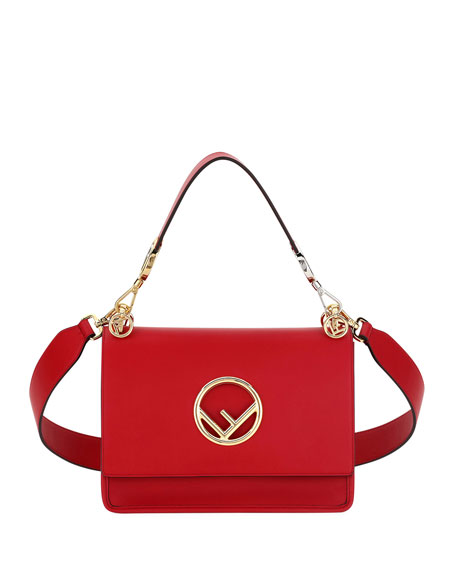 Fendi Kan I Small Leather Shoulder Bag, Red