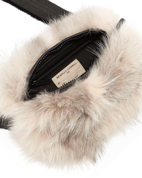 Two-Toned Fox Fur Crossbody Bag, Pink