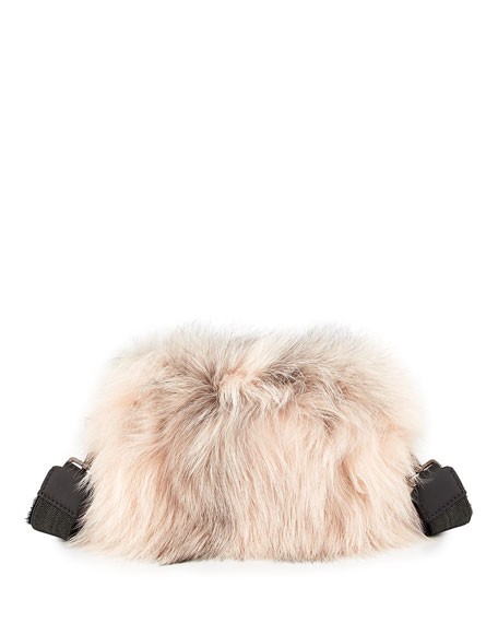 Brunello Cucinelli Two-Toned Fox Fur Crossbody Bag, Pink
