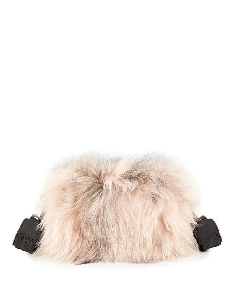 Two-Toned Fox Fur Crossbody Bag, Pink