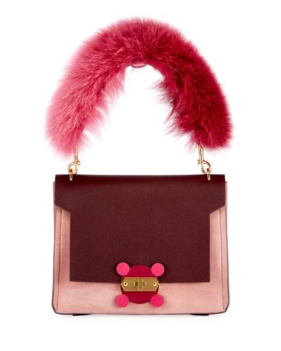 Bathurst XS Fur-Handle Satchel Bag