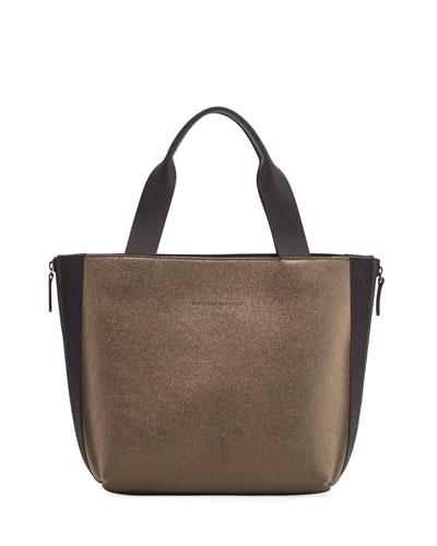 Metallic Leather Tote Bag