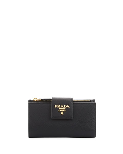Small Saffiano Continental Wallet, Black (Nero)