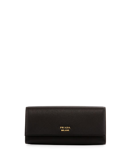 Prada Saffiano Clutch w/ Crossbody Chain