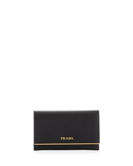 Saffiano Leather Bar-Flap French Wallet
