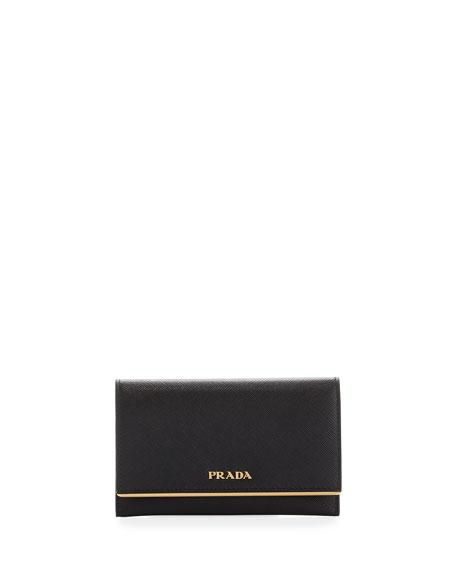 Prada Saffiano Leather Bar-Flap French Wallet