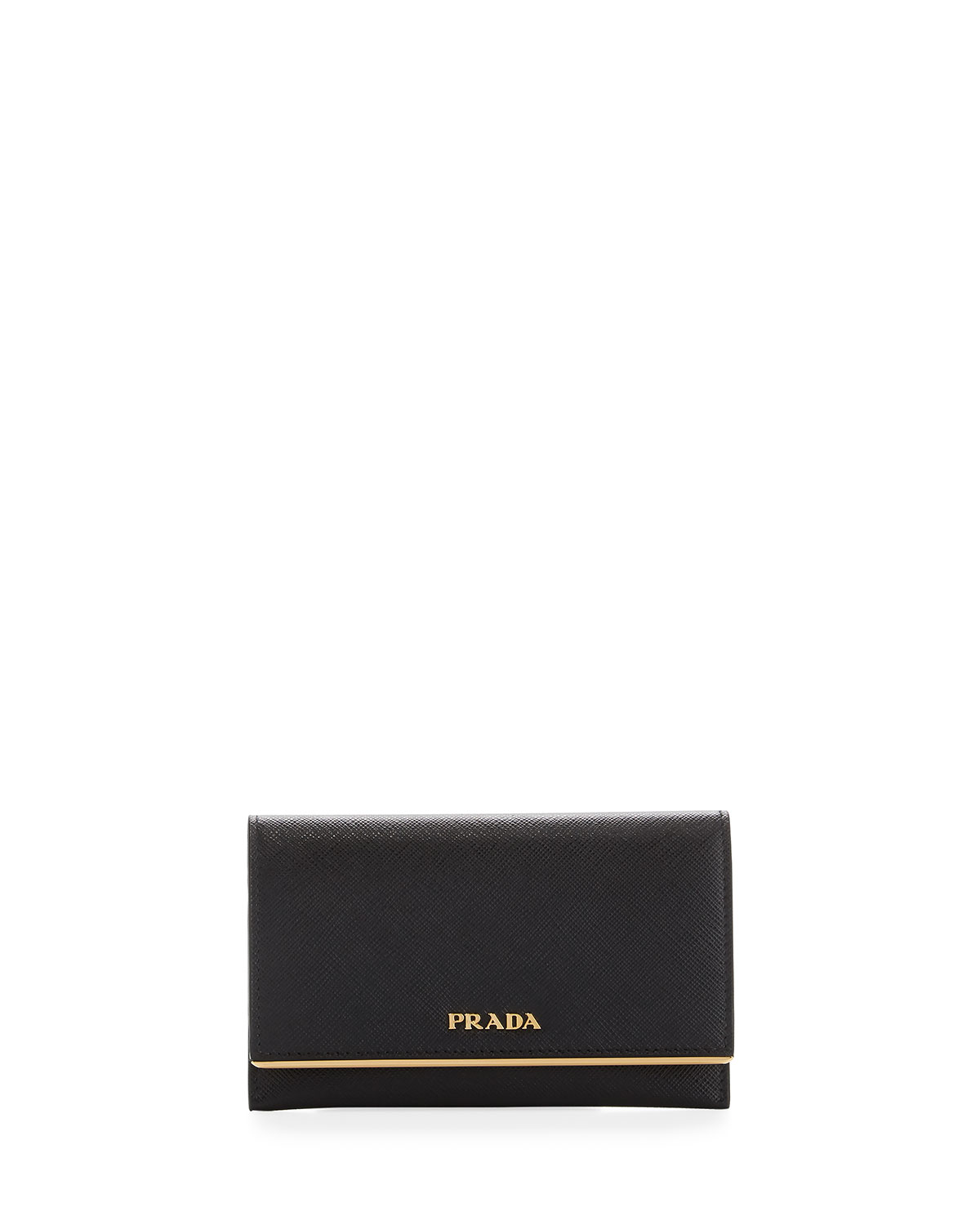 5afec42b221abb Prada Saffiano Leather Bar-Flap French Wallet | Neiman Marcus