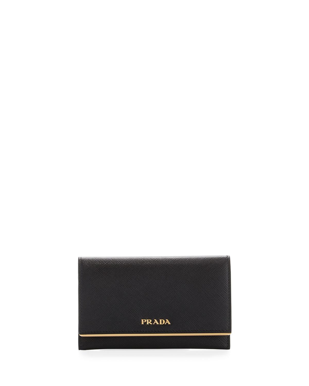 c2dfcf7fd539 PradaSaffiano Leather Bar-Flap French Wallet