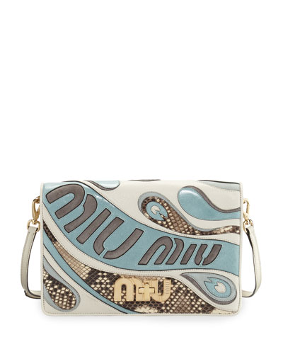 Mixed Leather/Python Clutch Bag