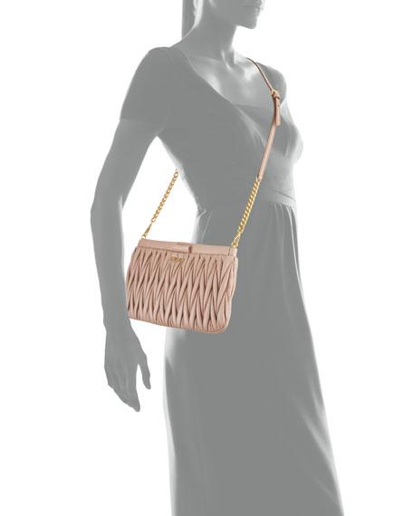 Matelasse Leather Clutch/Crossbody Bag