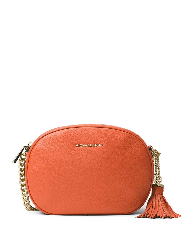 8f9cb4da2e3a MICHAEL Michael Kors Ginny Medium Leather Messenger Bag, Orange ...