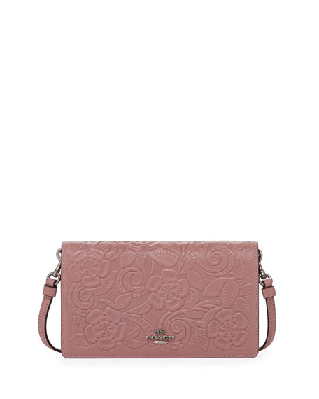 Coach Tea Rose Embossed Crossbody Clutch Bag