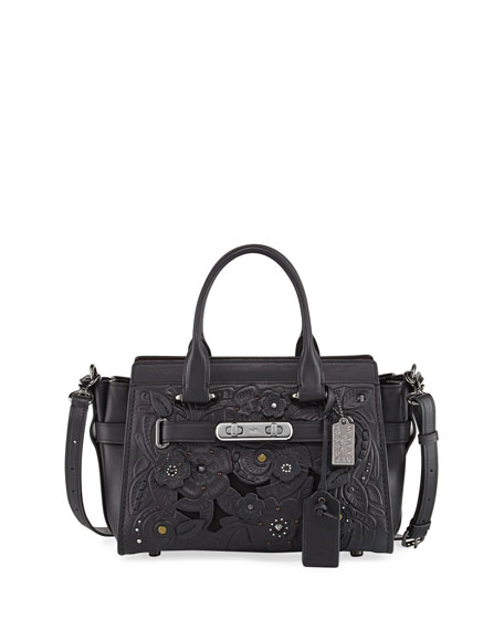 Swagger 27 Tea Rose Tooling Satchel Bag