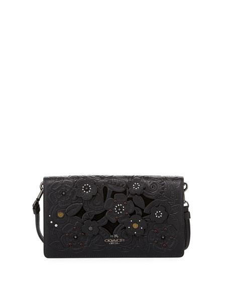 Coach Tea Rose Embossed Crossbody Clutch Bag, Black