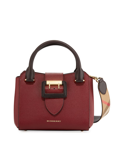 Burberry Small Soft Grain Leather Tote Bag, Burgundy