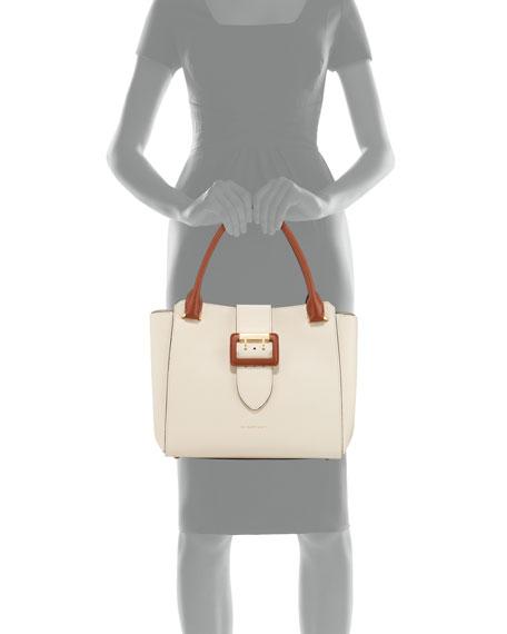 Medium Soft Grain Leather Buckle Tote Bag
