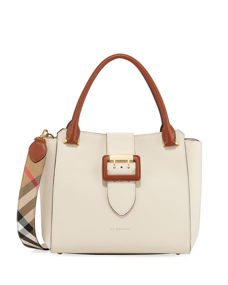 Burberry Medium Soft Grain Leather Buckle Tote Bag