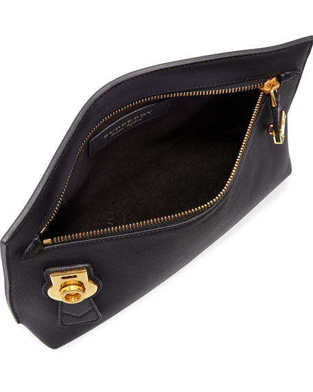 Trench Leather Zip & Lock Pouch, Black