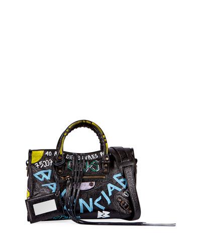 Classic City AJ Small Graffiti Satchel Bag, Black (Noir)