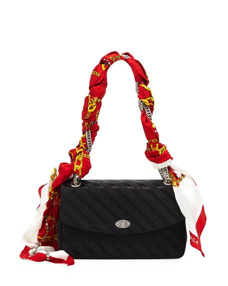 Lock Round Medium Scarf Satin Shoulder Bag