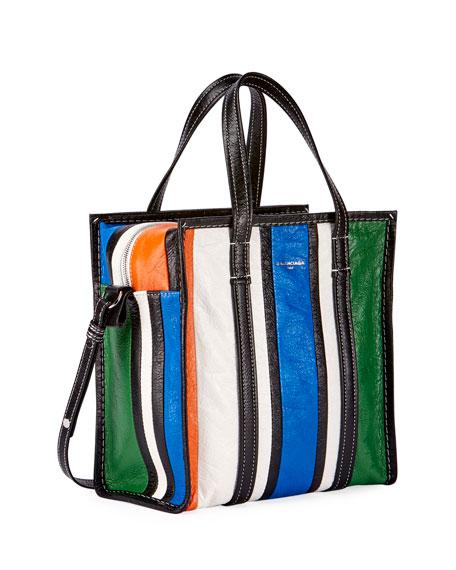 Bazar Small Striped Leather Shopper Tote Bag, Multi