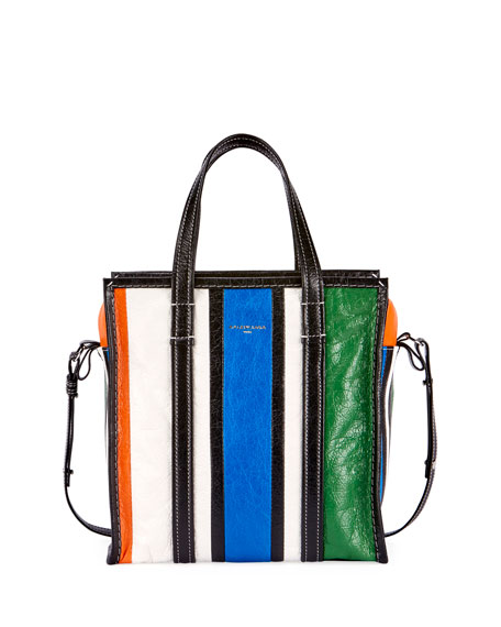 Balenciaga Bazar Small Striped Leather Shopper Tote Bag,