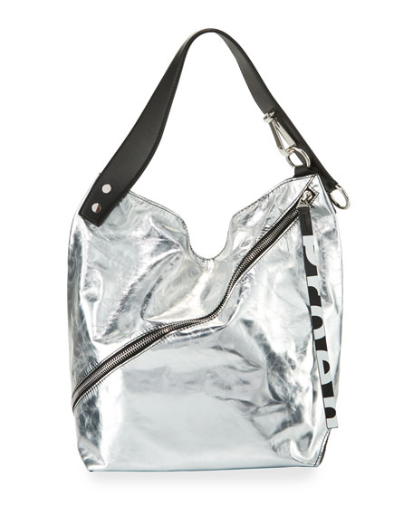 Medium Soft Metallic Hobo Bag, Silver