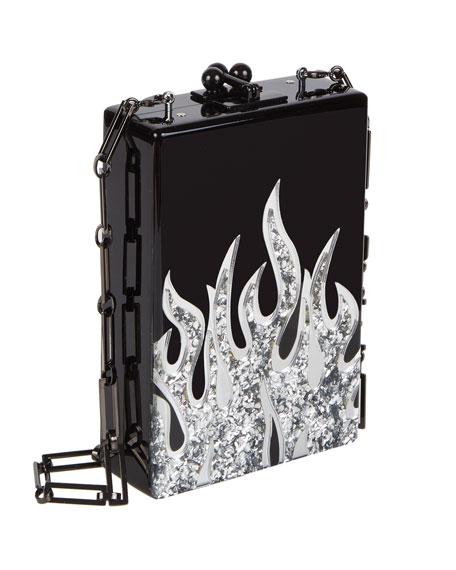 Carol Flames Acrylic Clutch Bag, Black