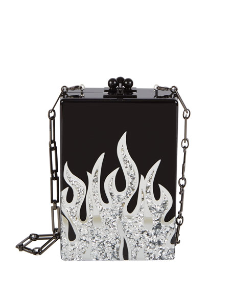 Edie Parker Carol Flames Acrylic Clutch Bag, Black