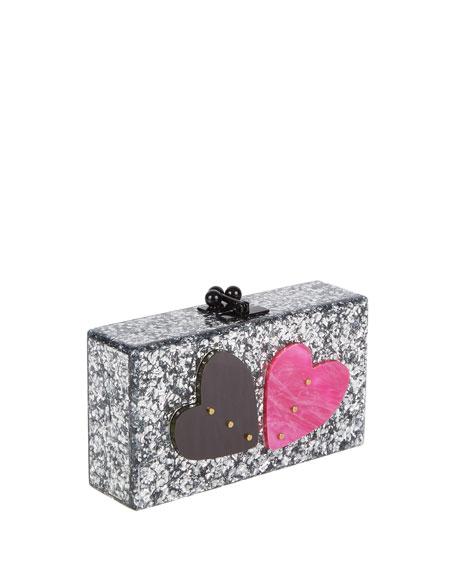 Jean Double Heart Clutch Bag, Silver