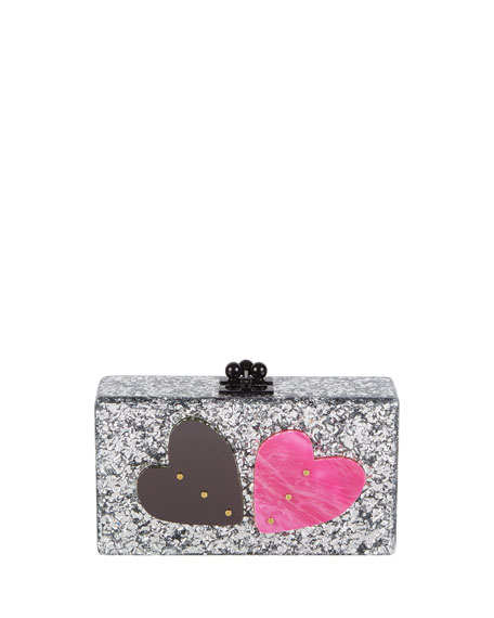 Edie Parker Jean Double Heart Clutch Bag, Silver