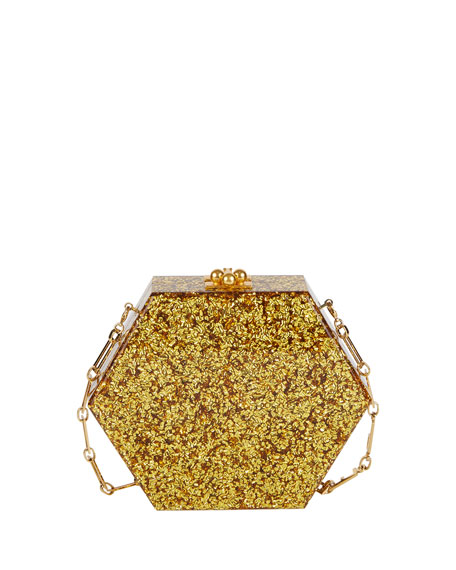 Macy Flames Hexagonal Clutch Bag, Gold